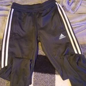 Charcoal Adidas kids 3 stripe joggers/track pants